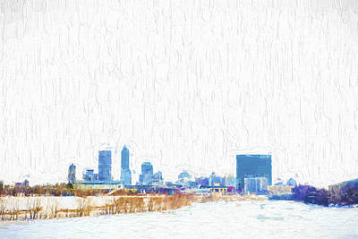Indianapolis Indiana Skyline Creative Blue Print by David Haskett