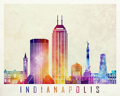 Indianapolis Painting - Indianapolis Landmarks Watercolor Poster by Pablo Romero