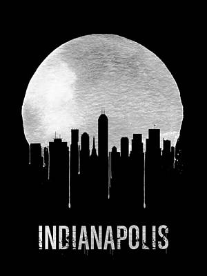 Travel Digital Art - Indianapolis Skyline Black by Naxart Studio