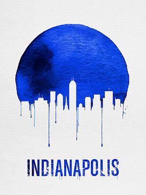 Indianapolis Skyline Blue Print by Naxart Studio