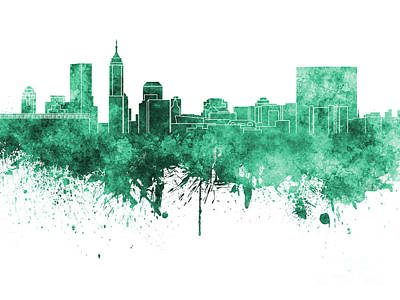 Indianapolis Painting - Indianapolis Skyline In Green Watercolor On White Background by Pablo Romero