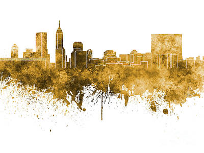 Indianapolis Painting - Indianapolis Skyline In Orange Watercolor On White Background by Pablo Romero