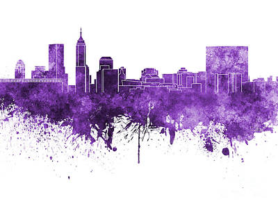 Indianapolis Painting - Indianapolis Skyline In Purple Watercolor On White Background by Pablo Romero