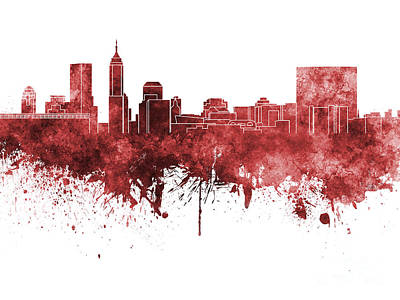 Indianapolis Painting - Indianapolis Skyline In Red Watercolor On White Background by Pablo Romero