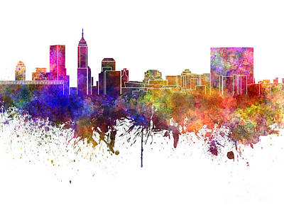 Indianapolis Painting - Indianapolis Skyline In Watercolor On White Background by Pablo Romero