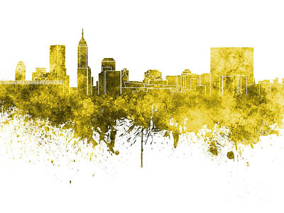 Indianapolis Painting - Indianapolis Skyline In Yellow Watercolor On White Background by Pablo Romero