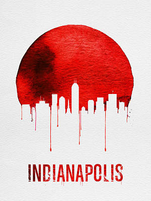 Indianapolis Skyline Red Print by Naxart Studio