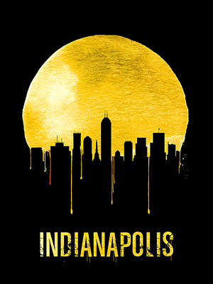Indianapolis Skyline Yellow Print by Naxart Studio