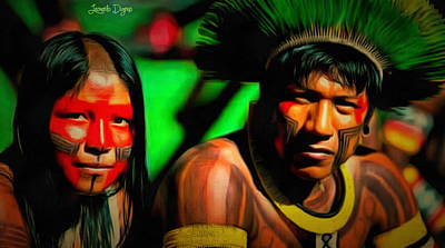 Hat Painting - Indians Of Brazil - Pa by Leonardo Digenio