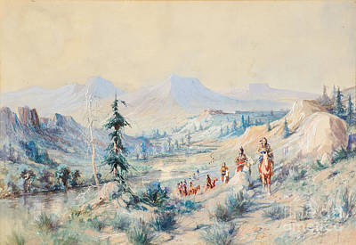 Wolf Watercolor Painting - Indians On A Trail by Celestial Images