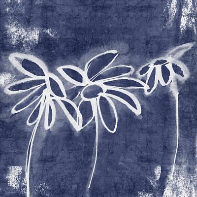Indigo Floral 1- Art By Linda Woods Print by Linda Woods