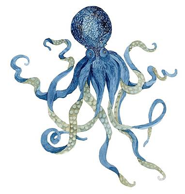 Octopus Painting - Indigo Ocean Blue Octopus  by Audrey Jeanne Roberts