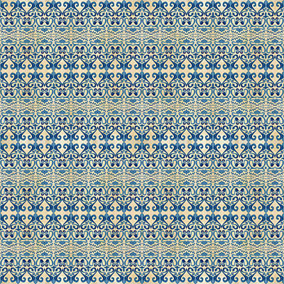 Decorative Painting - Indigo Ocean - Caribbean Tile Inspired Watercolor Swirl Pattern by Audrey Jeanne Roberts