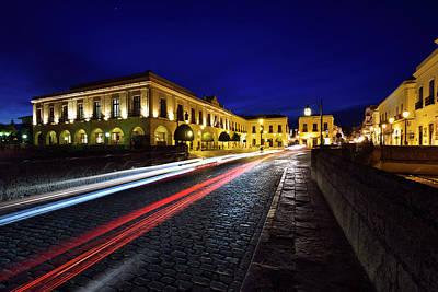 Andalusia Photograph - Indigo Sky And Car Lights Over Plaza Espana And Puente Nuevo Bri by Reimar Gaertner
