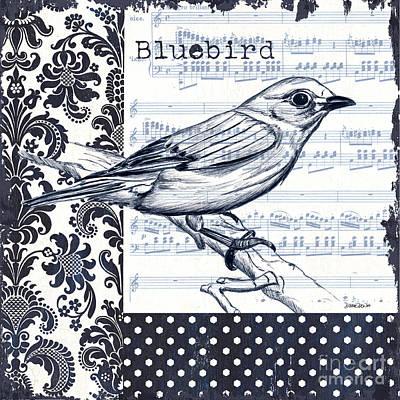 Textile Painting - Indigo Vintage Songbird 1 by Debbie DeWitt
