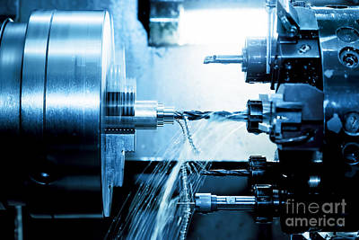 Production Photograph - Industrial Cnc Drilling And Boring Machine At Work by Michal Bednarek