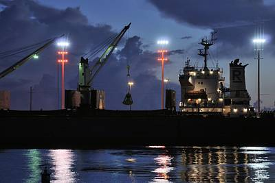 Grapple Photograph - Industrial Ship At Night by Bradford Martin