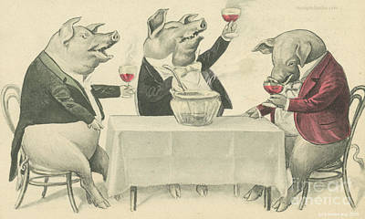 Ine Food And Song With Boars Print by Artist from the past