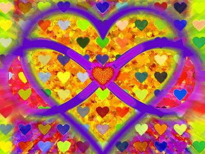 Couple Mixed Media - Infinity Love Heart Gold by Tony Rubino