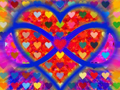 Couple Mixed Media - Infinity Love Heart Red by Tony Rubino