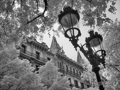 Gas Lamp Photograph - Infrared Street Light Black And White Barcelona Spain by Jane Linders