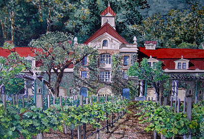 Napa Valley Painting - Inglenook Winery Napa Valley  by Gail Chandler