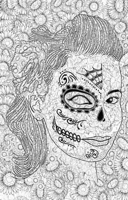Sugar Skull Girl Drawing - Inked Sugar Skull Beauty by Rene Lopez
