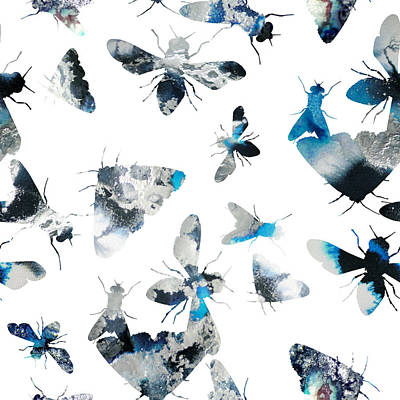 Wasp.insect Digital Art - Inky Insects by Varpu Kronholm