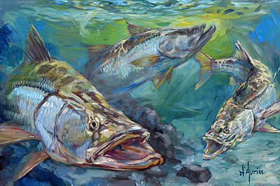 Shark Painting - Inlet Action by Tom Dauria
