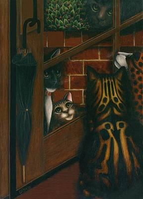 Inside Outside Cats Original by Carol Wilson