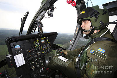 Foreign Military Photograph - Inside The Mbb Bo 105 Helicopter by Daniel Karlsson
