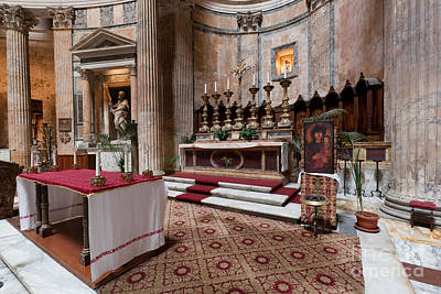 Church Photograph - Inside The Pantheon In Rome Italy by Michal Bednarek