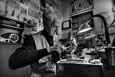 Watchmaker Photograph - Inside The Time - Through Time by Antonio Grambone