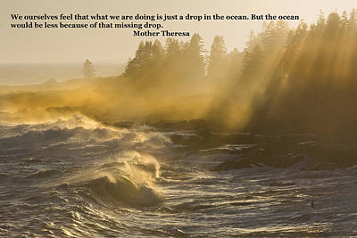 Turbulent Digital Art - Inspirational Mother Theresa Quote Waves Lightbeams On The Coast by Keith Webber Jr