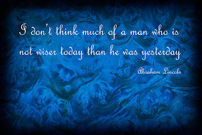 Inspirational Text On Blue Background Print by Donald  Erickson