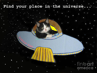 The Universe Digital Art - Inspirational Words From Teddy The Ninja Cat by Reb Frost