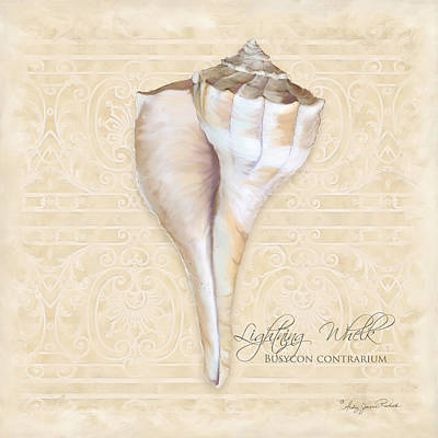 Inspired Coast 3 - Lightning Whelk Shell Busycon Contrarium Print by Audrey Jeanne Roberts