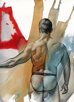 Male Nude Mixed Media - Instant 3 by Chris  Lopez