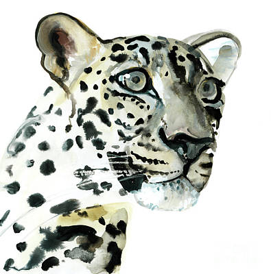 Leopard Drawing - Intent by Mark Adlington