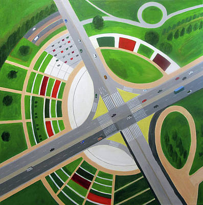 Intersection Painting - Interchange With Garden by Toni Silber-Delerive
