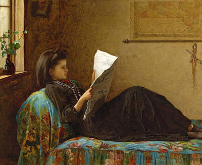 Eastman Johnson Painting - Interesting News by Eastman Johnson