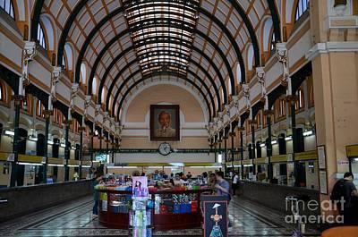 Interior Hall Of Historic Saigon Ho Chi Minh Central Post Office Building Vietnam Print by Imran Ahmed