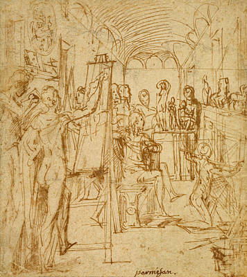 Drawing - Interior Of A Painter's Studio by Parmigianino