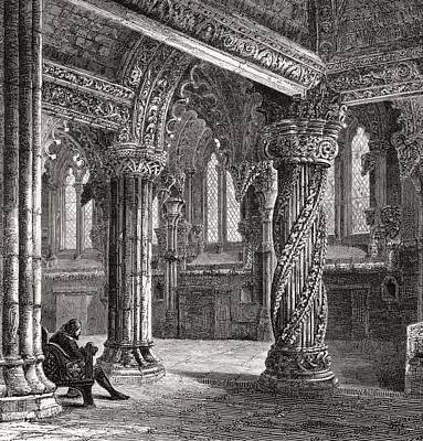Church Pillars Drawing - Interior Of Roslin Chapel, With The by Vintage Design Pics