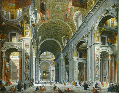 Giovanni Paolo Panini Painting - Interior Of Saint Peter's. Rome 2 by Giovanni Paolo Panini