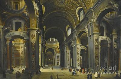 Interior Of St Peter Rome Print by Louis Haghe