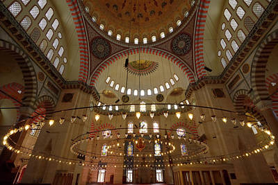 Turkey Photograph - Interior Of Suleymaniye Mosque With Qiblah Wall Chandelier And C by Reimar Gaertner