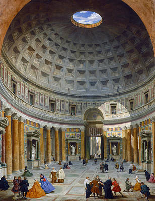 Interior Of The Pantheon Print by Giovanni Paolo Panini