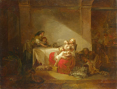 Jean-honore Fragonard Painting - Interior Scene by Jean-Honore Fragonard