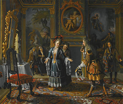 Matthijs Naiveu Painting - Interior With An Elegant Lady Receiving A Suitor by Matthijs Naiveu